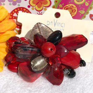 Large Boho Bead Flower Stretch Bracelet Red Black
